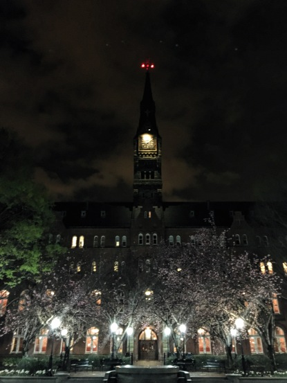 The clock tower at Georgetown